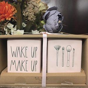 Rae Dunn Wake Up Make Up Brush Holders - Pink